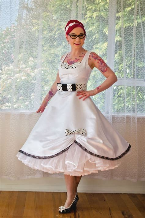 1950s Pin Up 'Audrey' Wedding Dress in a with Polka