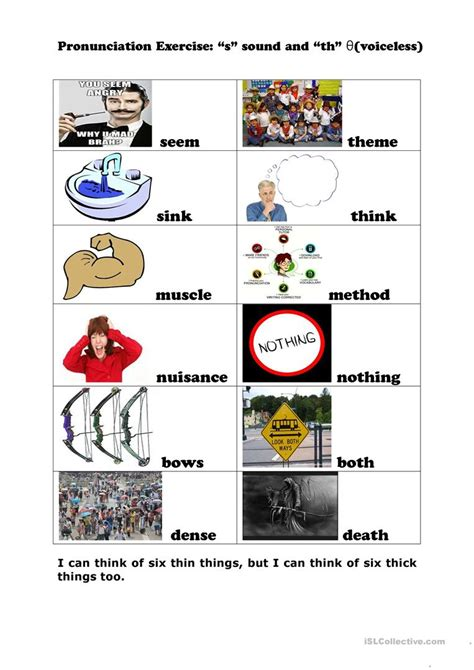 s and th pronunciation - English ESL Worksheets